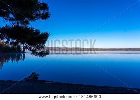 Early morning view of Lewis Lake in Yellowstone National Park
