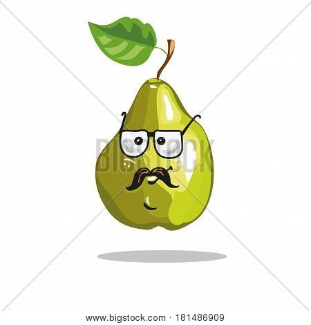 pear cartoon with serious funny expression and leaf vector