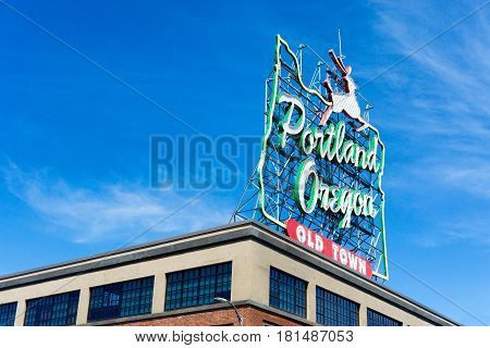 Iconic Portland Oregon sign in downtown Portland Oregon