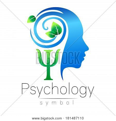 Modern head Logo sign of Psychology. Profile Human. Green Leaves. Letter Psi . Symbol in vector. Design concept. Brand company. Blue color isolated on white background. Icon for web, logotype