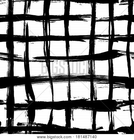 Vector seamless pattern with brush cross and cell. Black color on white background. Hand painted grange texture. Ink geometric elements. Fashion modern style. Endless plaid fabric print