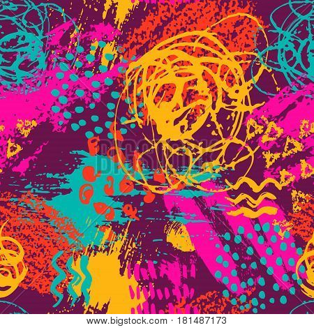 Vector colorful seamless pattern with brush strokes and dots. Pink blue orange red color on violet background. Hand painted grange texture.Ink geometric elements. Fashion modern style. Unusual bright.