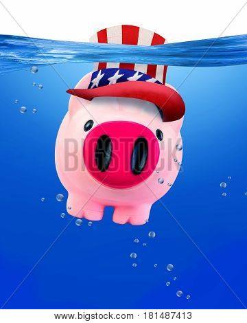American piggy bank under water with room for your type.