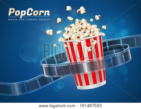 popcorn cinema movie theater object on bokeh background