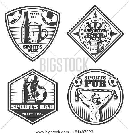 Vintage sport bar emblems set with beer bottle mug glass cup fan soccer ball darts isolated vector illustration