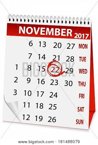 icon in the form of a calendar for Thanksgiving Day