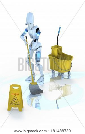 3d render of a robot mopping the floor against a white background.