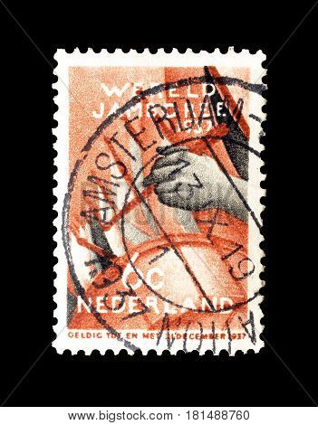 NETHERLANDS- CIRCA 1937 : Cancelled postage stamp printed by Netherlands, that shows Wereld Jamboree.