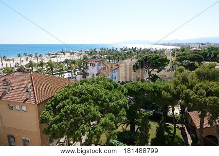 The villas and beach in Costa Dorada Spain