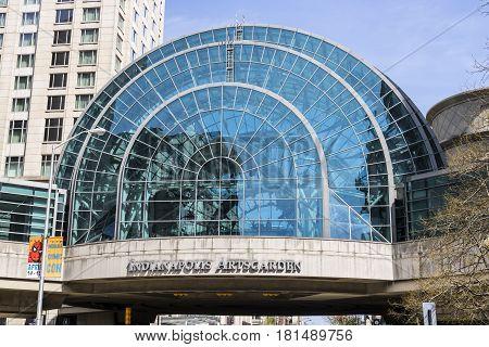 Indianapolis - Circa April 2017: Indianapolis Artsgarden. The Indianapolis Artsgarden is a glassed dome downtown walkway I