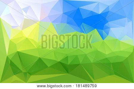 Mosaic green blue abstract vector background. Low-poly texture futuristic style bright pattern. Horizontal layout gradient polygons.