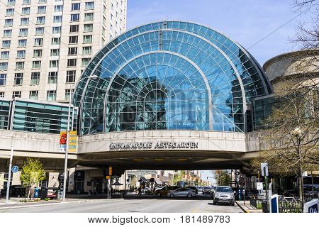 Indianapolis - Circa April 2017: Indianapolis Artsgarden. The Indianapolis Artsgarden is a glassed dome downtown walkway II
