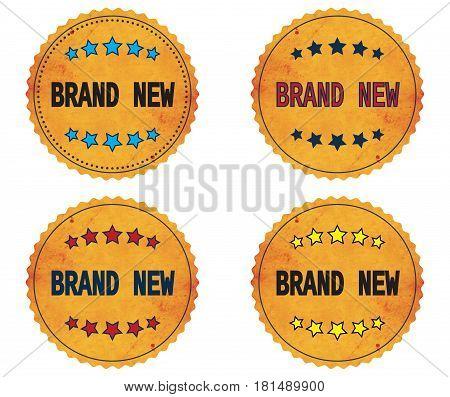 Brand New Text, On Round Wavy Border Vintage, Stamp Badge.