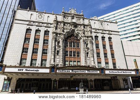 Indianapolis - Circa April 2017: Facade of the Indiana Repertory Theatre. At the top of the central arch are medallions of Christopher Columbus, King Ferdinand, and Queen Isabella I