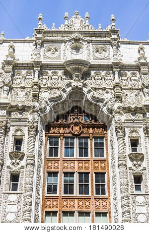 Indianapolis - Circa April 2017: Facade of the Indiana Repertory Theatre. At the top of the central arch are medallions of Christopher Columbus, King Ferdinand, and Queen Isabella II