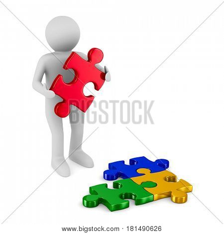 Man with puzzle on white background. Isolated 3D illustration