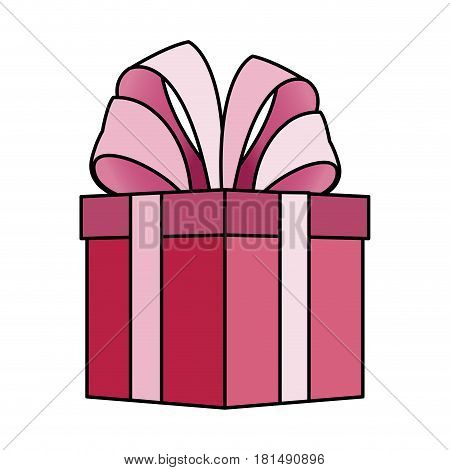 pink giftbox with big bow on top icon image vector illustration design