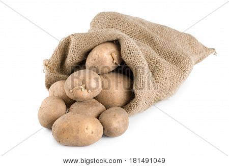 Raw potatoes in a hessian sack isolated on a white background