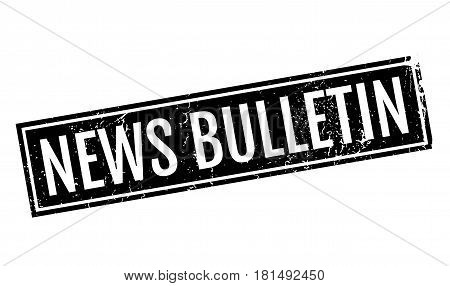 News Bulletin rubber stamp. Grunge design with dust scratches. Effects can be easily removed for a clean, crisp look. Color is easily changed.