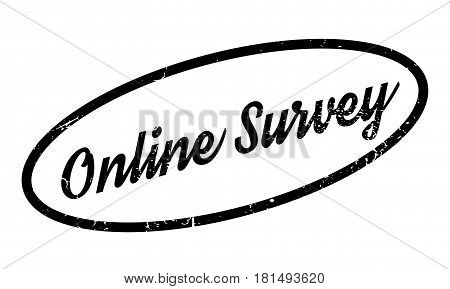 Online Survey rubber stamp. Grunge design with dust scratches. Effects can be easily removed for a clean, crisp look. Color is easily changed.