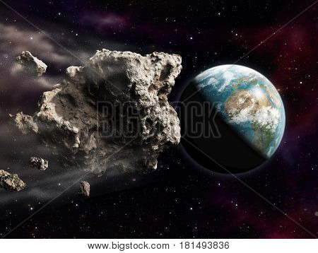 3D rendering of a dangerous large asteroid threatening to impact planet Earth.