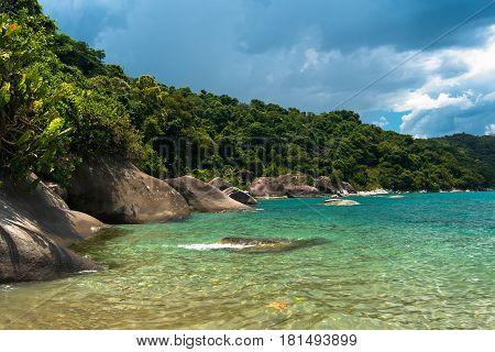 Empty Tropical Beach with Rocks Along the Coast, Near Angra dos Reis, Brazil