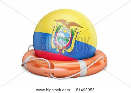 Lifebelt with Ecuador flag safe help and protect concept. 3D rendering