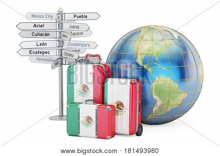 Mexico travel concept. Suitcases with Mexican flag signpost and Earth globe. 3D rendering