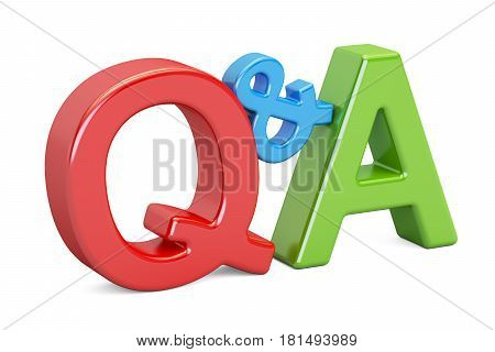 Q&A colorful inscription 3D rendering isolated on white background