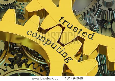 trusted computing concept on the gearwheels 3D rendering