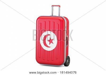 Tunisia travel concept suitcase with Tunis flag. 3D rendering