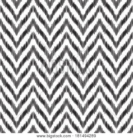 Vector illustration of the black and white geometric ikat seamless pattern.