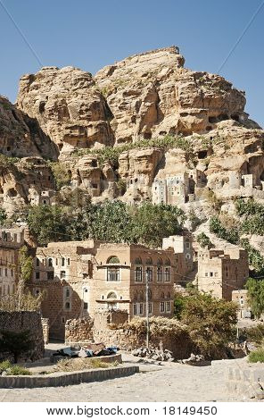 yemeni mountain village near sanaa in yemen poster