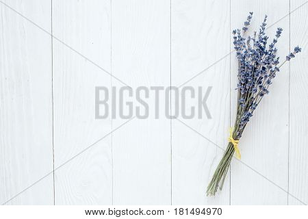 lavender flowers bouquet mock up on white desk background top view