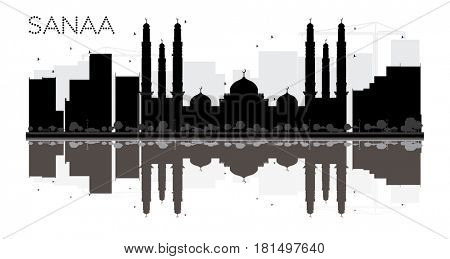 Sanaa City skyline black and white silhouette with reflections. Simple flat concept for tourism presentation, banner, placard or web site. Business travel concept. Cityscape with landmarks
