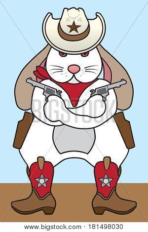 Tough cowboy rabbit holding a pair of pistols