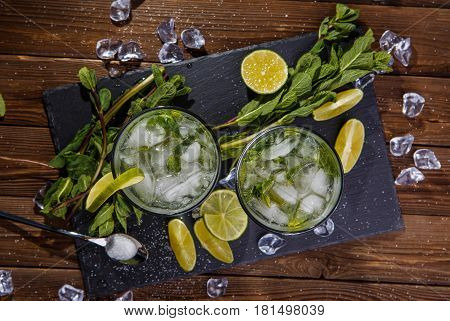 Photo of two glasses with mojito top
