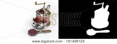 3D rendering of brown vintage coffee grinder with coffee beans on spoon isolated on white background with alpha channel section for easy split unwanted background.