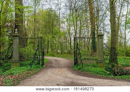 Sandy road to estate with an open black iron gate with weathered golden decoration.
