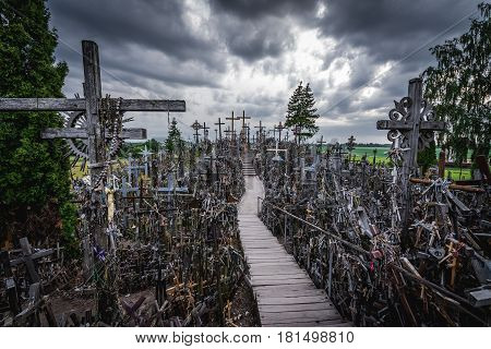 Famous pilgrimage site called Hill of Crosses Lithuania