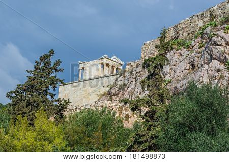 Athena Nike ancient temple on Acropolis hill in Athens Greece