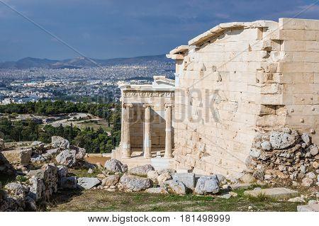 Ruins of Athena Nike temple on Acropolis hill Athens Greece