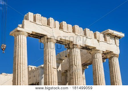 Details of ancient temple called Parthenon on Acropolis hill in Athens Greece