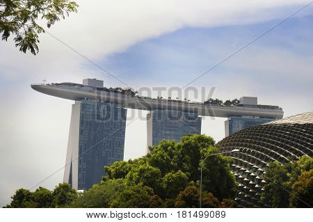Singapore / Asia . APRIL 2017. Amazing view of Marina Bay sands hotel in the Asian country of Singapore representation of world modern and futuristic architecture and travel destination landmark