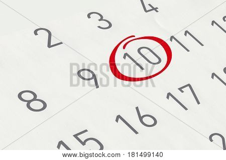 Mark the date number 10 focus point on the red marked number.