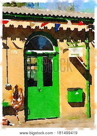 Digital watercolor painting of a green door at a station in the UK with bunting hanging and a blue sky in the background.