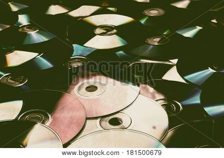 old cd compact disc with soft light and vintage look