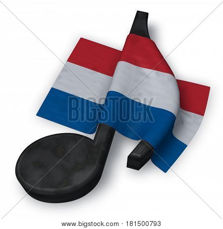 music note and dutch flag - 3d rendering