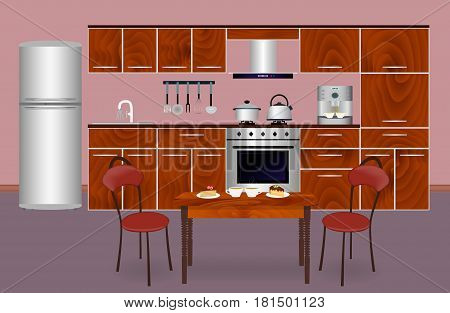 Wooden kitchen interior banner for your web design. Housewife workplace organization. Flat vector illustration for website designers.