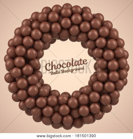 Chocolate balls round frame with place for your content. Vector illustration Eps 10